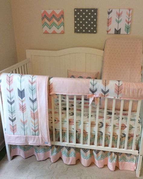 Blush pink, mint, peach and grey crib bedding set with arrows, triangles and chevron  www.etsy.com/listing/260260872/blush-pink-grey-peach-and-mint-arrows