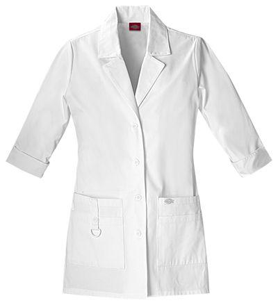 "White Dickies Scrubs EDS Womens 37/"" Lab Coat 82401 DWHZ"