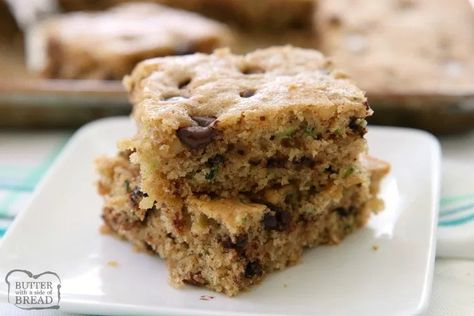 Chocolate Chip Zucchini Bars made with ripe zucchini and has all the zucchini bread flavors! One of my favorite easy zucchini recipes these bars are a real crowd pleaser!