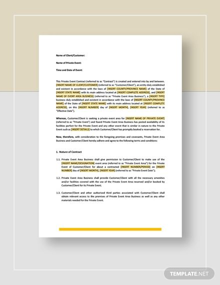 Private Event Contract Outline Names Templates
