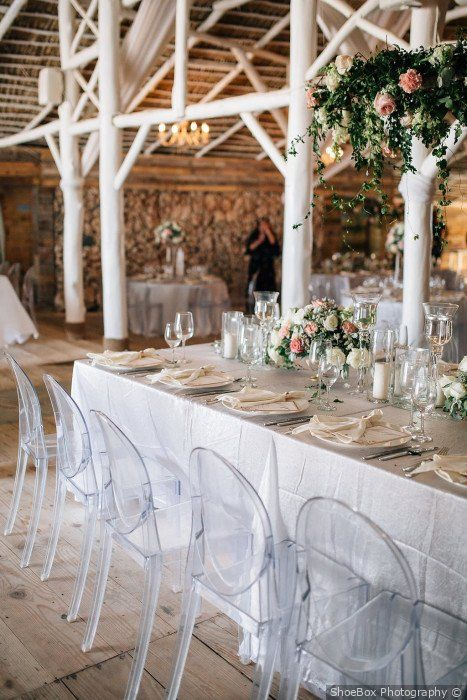 Shabby Chic Wedding Reception Decor White Themed With Clear Chairs An Shabby Chic Wedding Watercolor Floral Wedding Invitations Wedding Reception Decorations