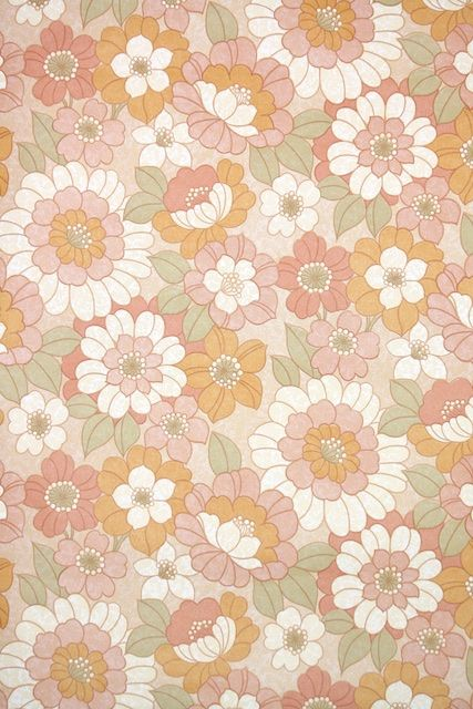 1970s Floral Vintage Wallpaper Vintage Wallpaper Patterns Art