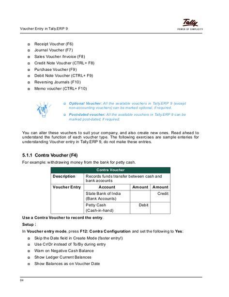Advanced voucher entry tutorial in Tally ERP 9 tally Pinterest - example of a voucher