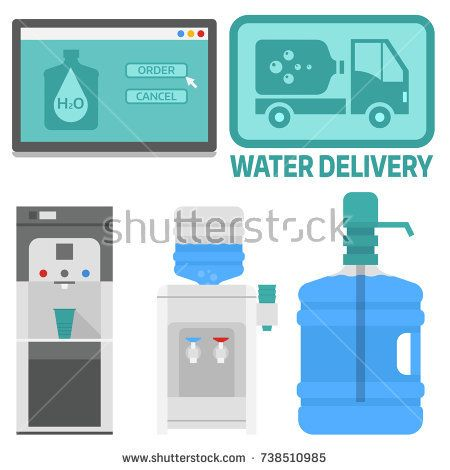 Water Delivery Vector Elements Drink Bottle Plastic Blue Container Business Service Water Delivery Water Drink Bottles