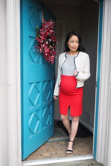 88e5485ccccc So pregnant and REDy. Linked skirts are 40% off and perfect pairing with a