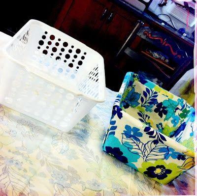 DIY Fabric Covered Bins..Dollar store bin into cute fabric organizer and no sewing