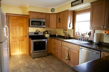 Kitchens With Oak Cabinets | Yellow Kitchen Walls With Oak Cabinets Zef Jam