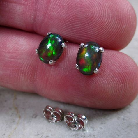 96c0e69f7 Genuine Black Fire Opal Earrings, Natural Opal Stud Earrings, Best ...