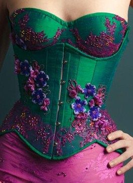 Great colour combination - emerald green and pink/purple