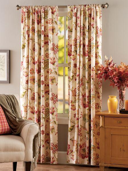Jacobean Floral Rod Pocket Curtains Cottage Curtains Curtains