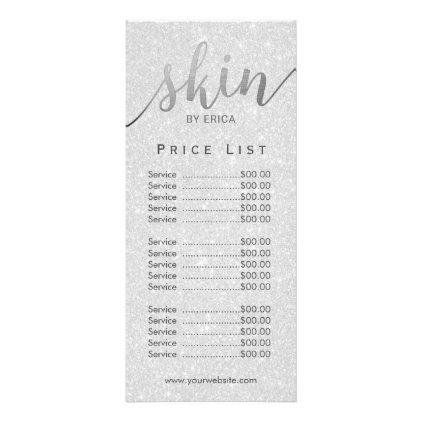 Skincare Salon Spa Esthetician Silver Price List Rack Card Zazzle Com In 2020 Spa Business Cards Rack Card Esthetician