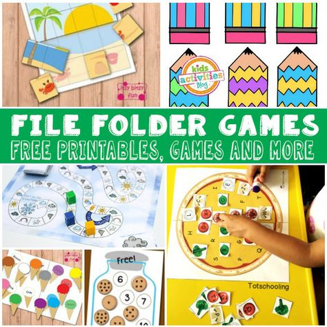 Lots of Fun and Free File Folder Games for Kids - Itsy Bitsy Fun Games For Kids Classroom, Building Games For Kids, Kindergarten Games, Board Games For Kids, Games For Toddlers, File Folder Activities, File Folder Games, Free Preschool, Preschool Activities