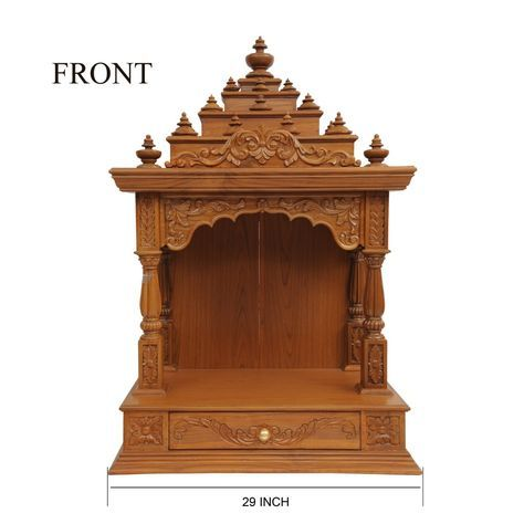 Indian Teak Wood Mandir Engraved Beautifully For Sale Online