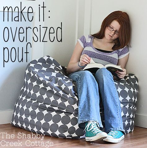 Oversized Pouf Tutorial.  Square floor pillow, sewing tutorial.