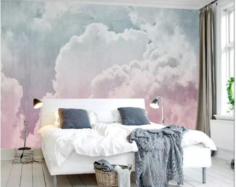 Hand Painted Abstract Clouds Wallpaper Wall Mural, Rendering Colorful Pink Clouds Wall Mural, Creative Cloudy Wall Mural Wall Decor