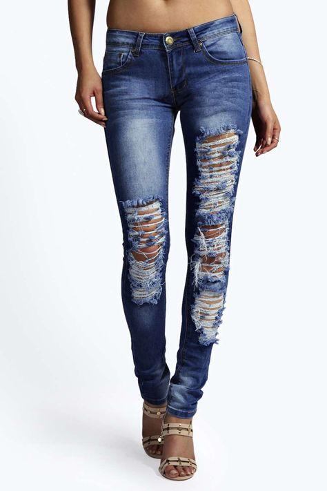 Evie Low Rise Distressed Knee Skinny Jeans alternative image