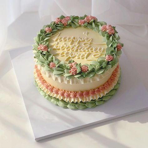 """April's Baker on Instagram: """"Matcha🍵and raspberry🌸"""" Pretty Birthday Cakes, Pretty Cakes, Buttercream Cake Decorating, Desserts To Make, Health Desserts, Baking Party, Just Cakes, Bakery Cakes, Cake Boss"""