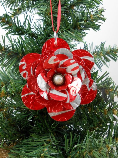 Flower Christmas Ornament - Recycled Soda Pop Can Art -