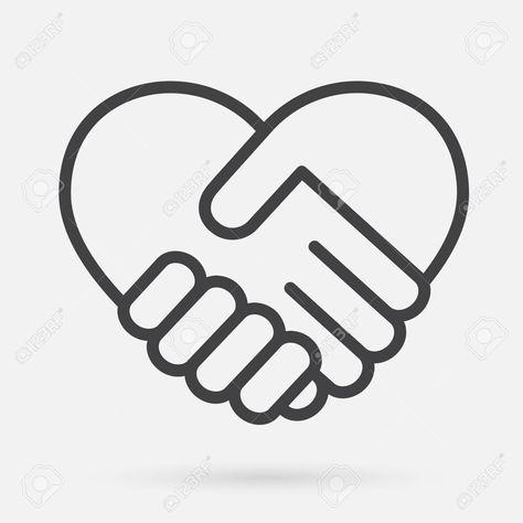 Heart Handshake Icon Stock Vector 97459364 Unity Logo Icon Handshake Logo