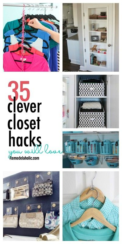 35 Clever Closet Hacks You Ll Love Remodelaholic Clever Closet Closet Hacks Organizing Small Closet Hacks,Where To Hang Curtains With Craftsman Trim