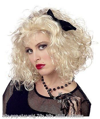 Womens 1980s Blonde Curly Madonna Style Wig