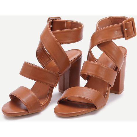 34d9b3a8d2 SheIn(sheinside) PU Criss Cross Block Heels With Buckle (50 BAM) ❤ liked on  Polyvore featuring shoes, sandals, brown peep toe sandals, brown block heel  ...