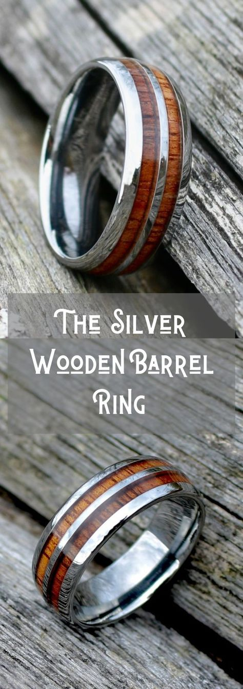 Crafted out of high grade tungsten carbide and inlaid with natural koa wood. This wooden ring in inspired from old whiskey barrels They have sooo many wooden wedding rings to pick from! Benfica Wallpaper, Barrel Rings, Wedding Men, Mens Wooden Wedding Bands, Wedding Ideas, Wooden Rings, Wedding In The Woods, Silver Man, Whiskey Barrels