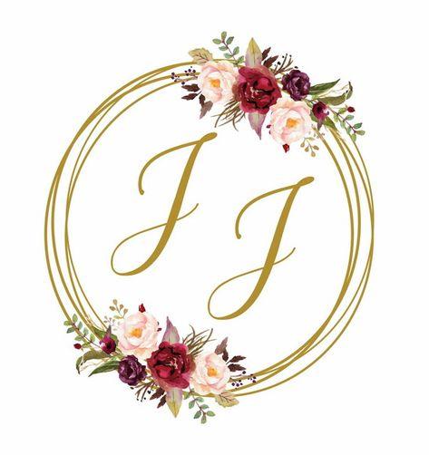 Brasão Monograma Floral Marsala Casamento - Digital