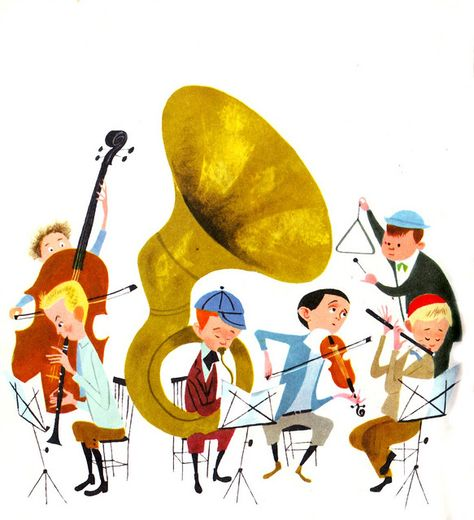 "From ""Little Boy with a Big Horn"" by Jack Bechdolt, illustration by Aurelius Battaglia. Golden Press NY 1960."