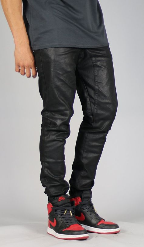 Coated Drop Crotch Denim Jogger is part of Denim joggers - Spandex Model is tall, wears s