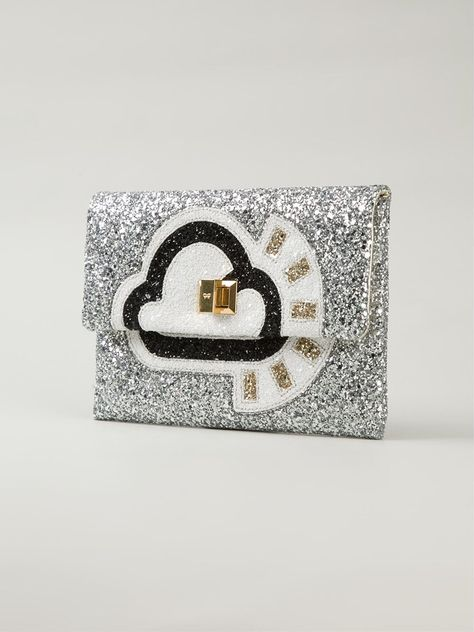 Shop ANYA HINDMARCH 'Valorie sunny' glitter clutch from Farfetch