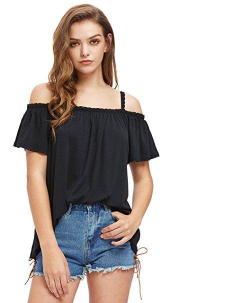 Damen Spagettiträger Spaghetti-Top T-Shirt Träger Tshirt Strand Top Oberteil