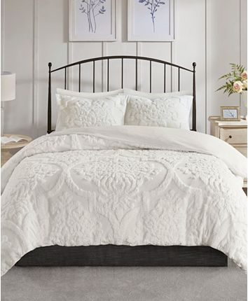 Madison Park Viola Full Queen 3 Piece Tufted Cotton Chenille Damask Duvet Cover Set Reviews Bed In A Bag Bed Bath Macy S Duvet Cover Sets Mattress Furniture White Coverlet