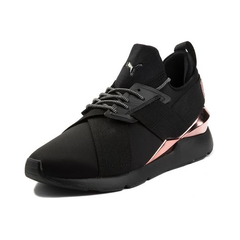 6a1dedd17e18 Womens Puma Muse Metal Athletic Shoe - Black Rose Gold - 361766