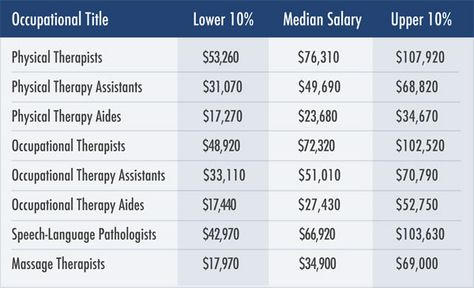a chart showing a physical therapist's salary, as well as salaries, Sphenoid