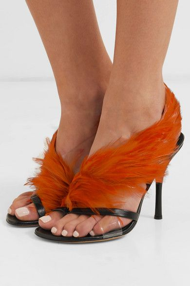 140986c9e417e Dries Van Noten   Feather-embellished PVC and leather sandals    NET-A-PORTER.COM