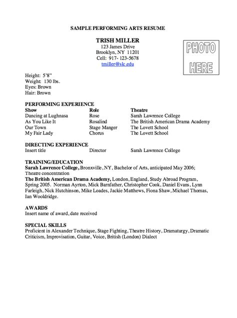 Performing Arts Resume Sample -    resumesdesign - production clerk sample resume