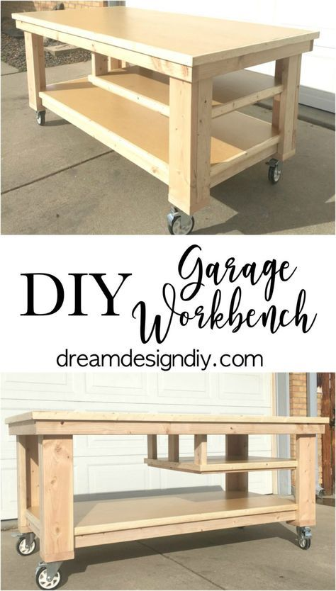 Need to update the space in your garage? This large Garage Workbench is perfect . Need to update the space in your garage? This large Garage Workbench is perfect for working on proj Workbench On Wheels, Rolling Workbench, Workbench Plans Diy, Woodworking Workbench, Woodworking Projects Diy, Woodworking Furniture, Diy Wood Projects, Diy Furniture, Workbench Top