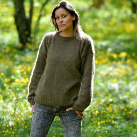 READY to SHIP Hand Knit 100% Pure Angora Sweater Olive GREEN Soft Fuzzy  Crewneck Jumper 8afa9127ae8e