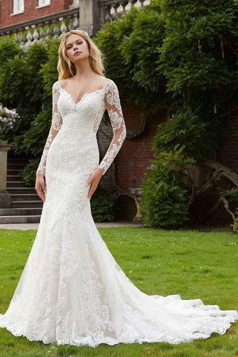 Wedding Dresses Princess Lace Long-sleeve wedding dress idea - lace, fitted wedding dress - Style Philomena by Morilee By Madeline Gardner! Learn more about this dress on WeddingWire! Boho Wedding Dress With Sleeves, Western Wedding Dresses, Long Wedding Dresses, Long Sleeve Wedding, Dresses With Sleeves, Tulle Wedding, Modest Wedding, Prom Dresses, Sleeve Wedding Dresses