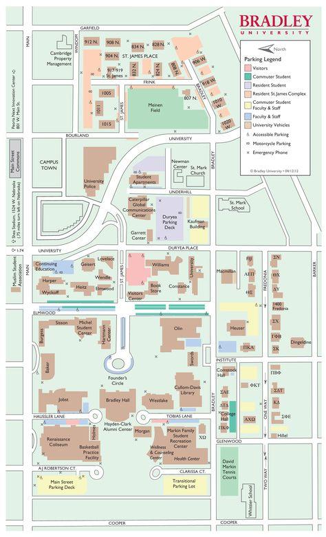 bradley university campus map Campus Map Updated 4 12 12 With Images Campus Map Commuter bradley university campus map