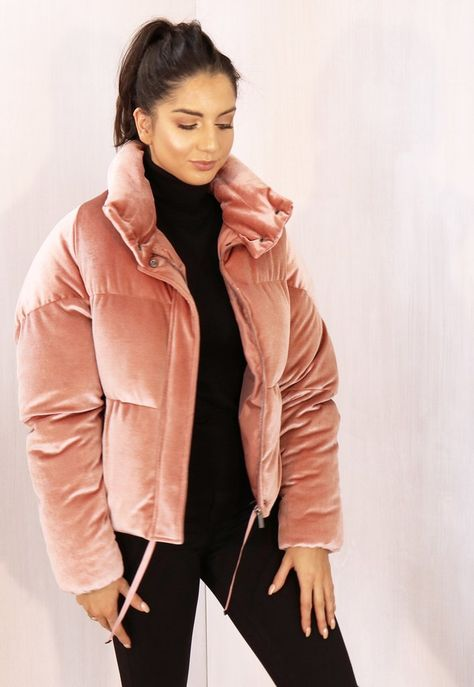 Boxy Cropped Padded Velvet Puffer Jacket with Funnel Neck in Dusky Pink - Women Puffer Jackets - Ideas of Women Puffer Jackets - Boxy Cropped Padded Velvet Puffer Jacket with Funnel Neck in Dusky Pink One Nation Clothing