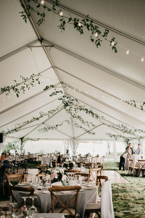 Wedding tents are originally designed in case of a bad weather but these days wedding tent decorations are getting trendy for many couples for they offer a stylish and rustic touch to the wedding. Wedding Bells, Wedding Ceremony, Wedding Tent Decorations, Wedding Tent Lighting, Outdoor Tent Wedding, Wedding With Lights, White Tent Wedding, Outdoor Weddings, Outdoor Ceremony