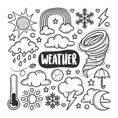 Weather icons hand drawn doodle coloring... | Premium Vector #Freepik #vector #snow #cloud #sun #moon