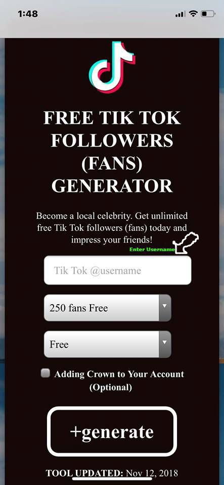 Unlimited Followers Tik Tok Free Likes On Tik Tok Videos Free Tiktok Fans No Bot Verification Free Tiktok Fans Website Tik Tok Tik Tok How To Get Followers Tok