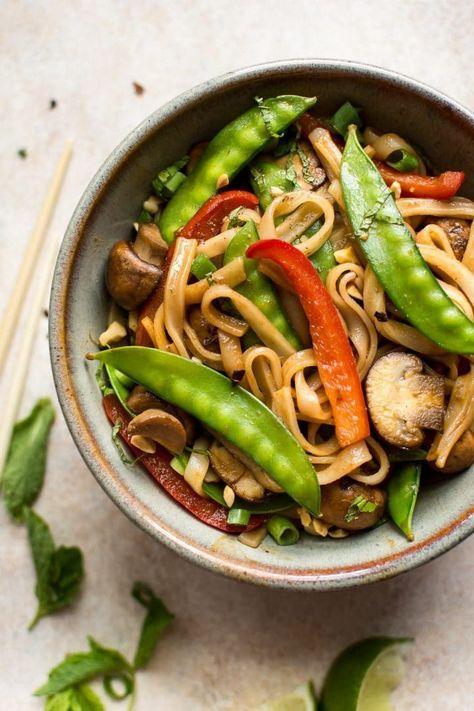 Vegan Rice Noodles Recipe Sweet Spicy Sauce Vegan Dinner Recipes Dinner Recipes