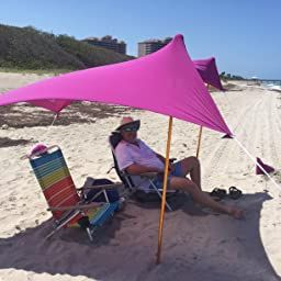Amazon Com Ziggyshade Family Beach Sunshade Lightweight Sun Shade Tent With Sandbag Anchors 4 Free Pegs Upf5 In Sun Shade Tent Portable Canopy Family Beach