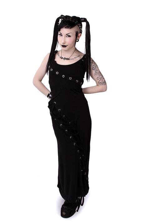 Prom goth alternative Matrimonio Steampunk Gonna in Nero Rosso Viola