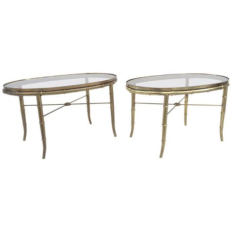 Pair Of Aged Brass Faux Bamboo Occasional Tables By Mastercraft
