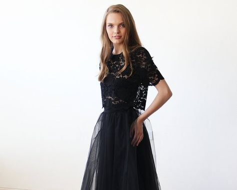 fe05817e7eb8 Black lace short sleeves top , Lace black sheer top 2037 in 2019 ...